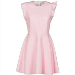 Brand New MSGM Ruffle Sleeves Flare Dress Pink